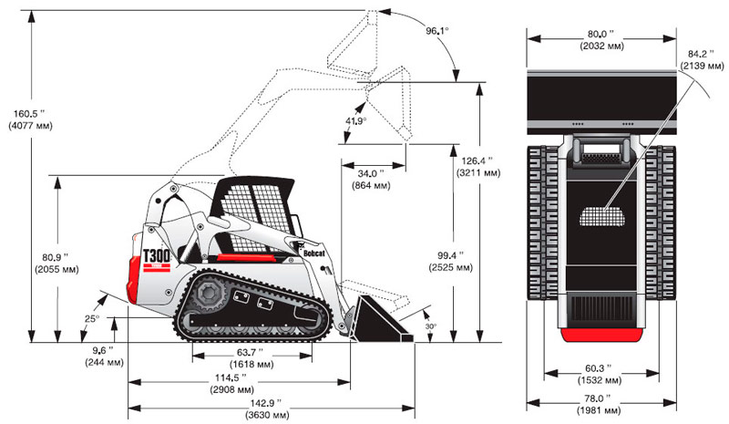 Размеры Bobcat T300